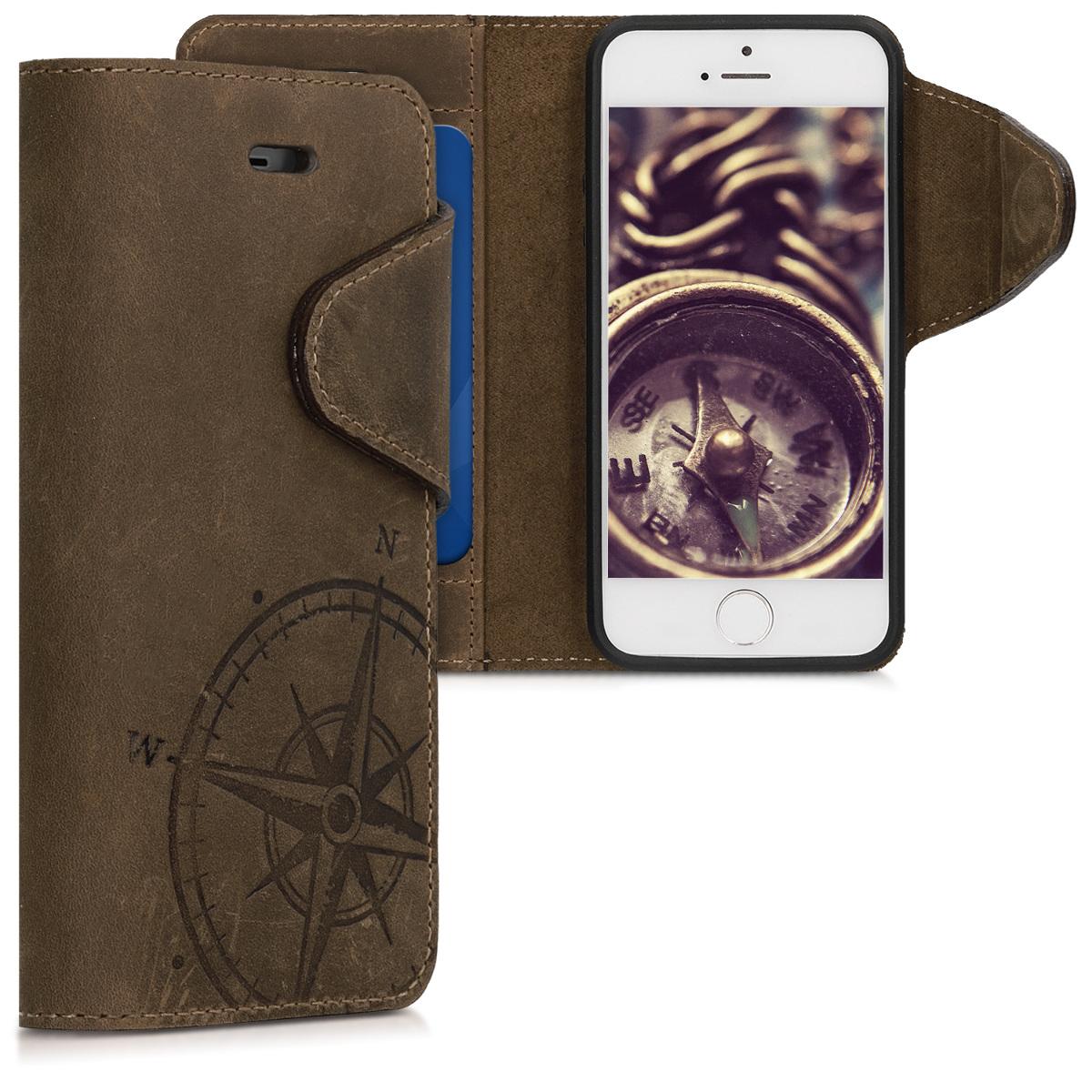Kalibri Δερμάτινη Suede Θήκη - Πορτοφόλι iPhone SE / 5S / 5 - Καφέ(46746.01)