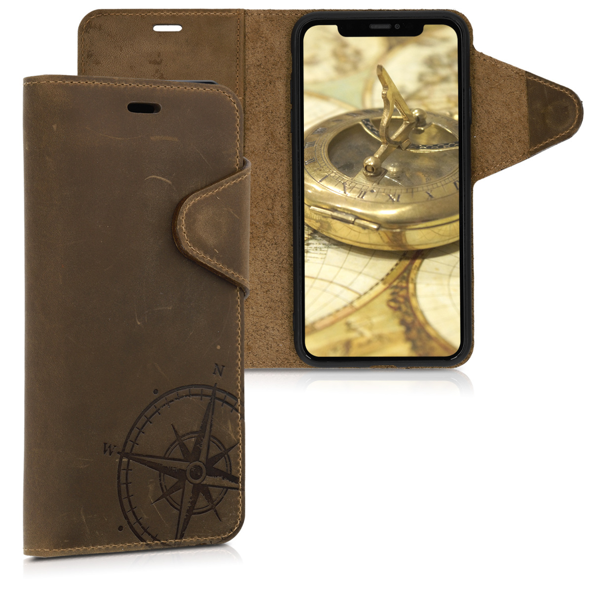 Kalibri Δερμάτινη Suede Θήκη - Πορτοφόλι iPhone XS Max - Brown Compass (46747.01)