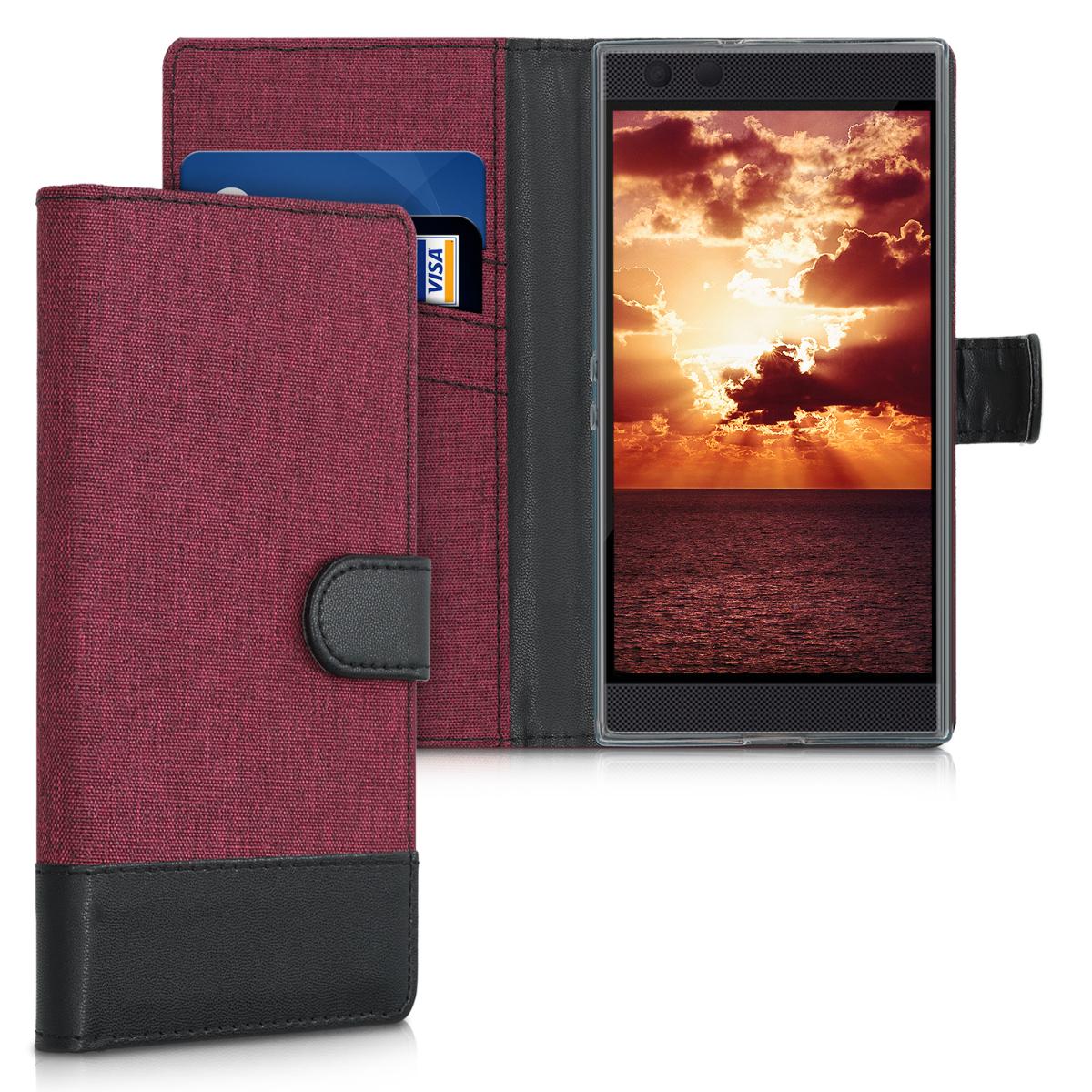 KW Θήκη Πορτοφόλι Razer Phone 2 - Dark Red Canvas / Black (46788.04)