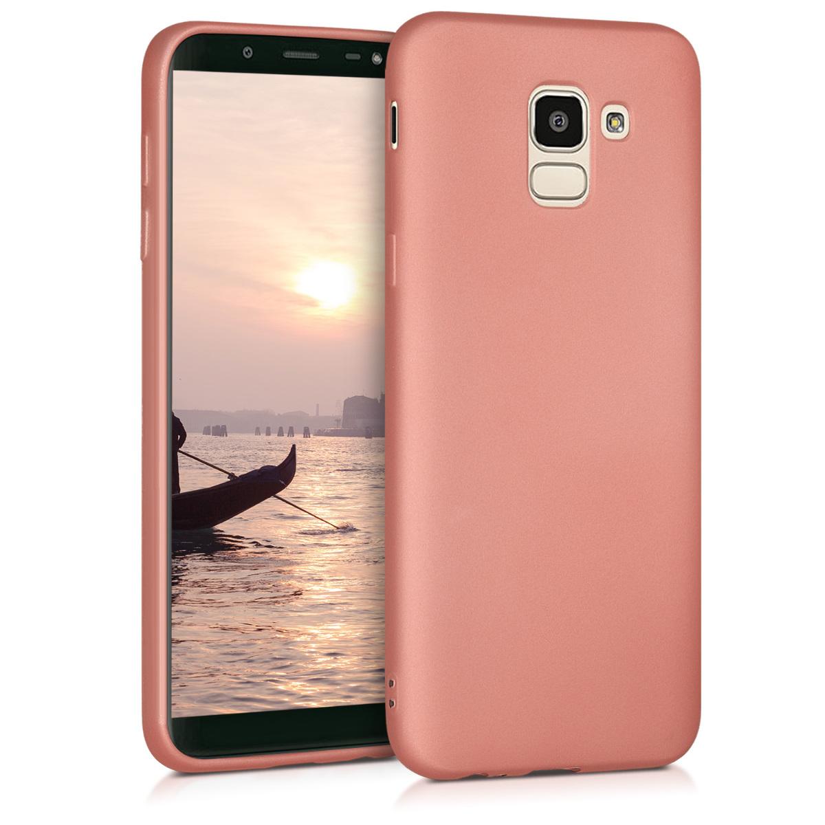 KW Θήκη Σιλικόνης Samsung Galaxy J6 - Soft Flexible Shock Absorbent- Metallic Rose Gold (46848.31)