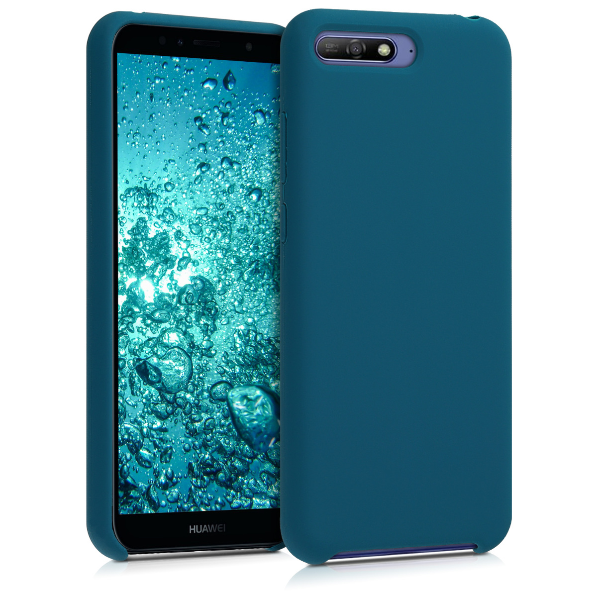 KW Θήκη Σιλικόνης Huawei Y6 (2018) - Soft Flexible Rubber Protective Cover - Teal Matte - (46898.57)