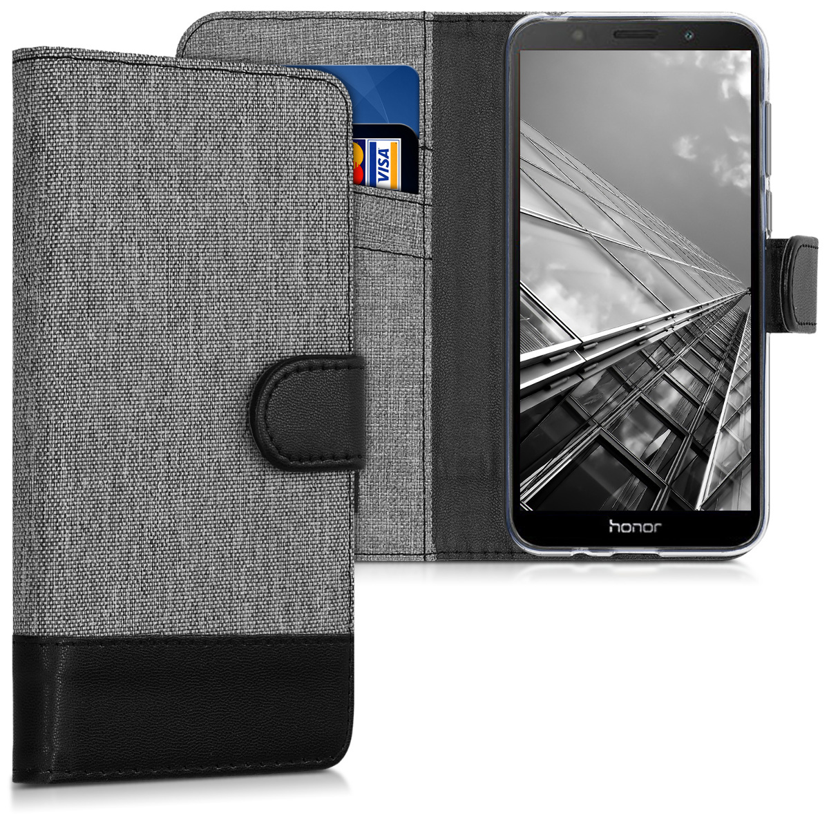 KW Θήκη - Πορτοφόλι Honor 7S - Grey / Black Canvas (46903.01)
