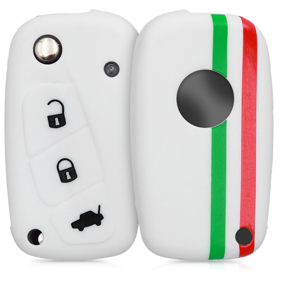 KW Θήκη Κλειδιού Fiat Lancia - Silicone - 3 Κουμπιά - Green / Red / White (46918.02)