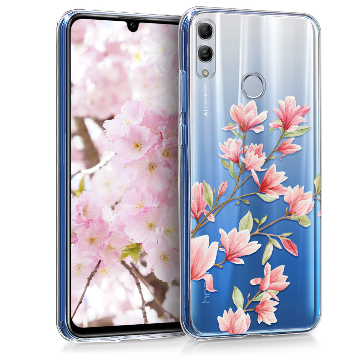 KW Θήκη Σιλικόνης Huawei P Smart 2019 - Magnolias Light Pink White (47003.01)
