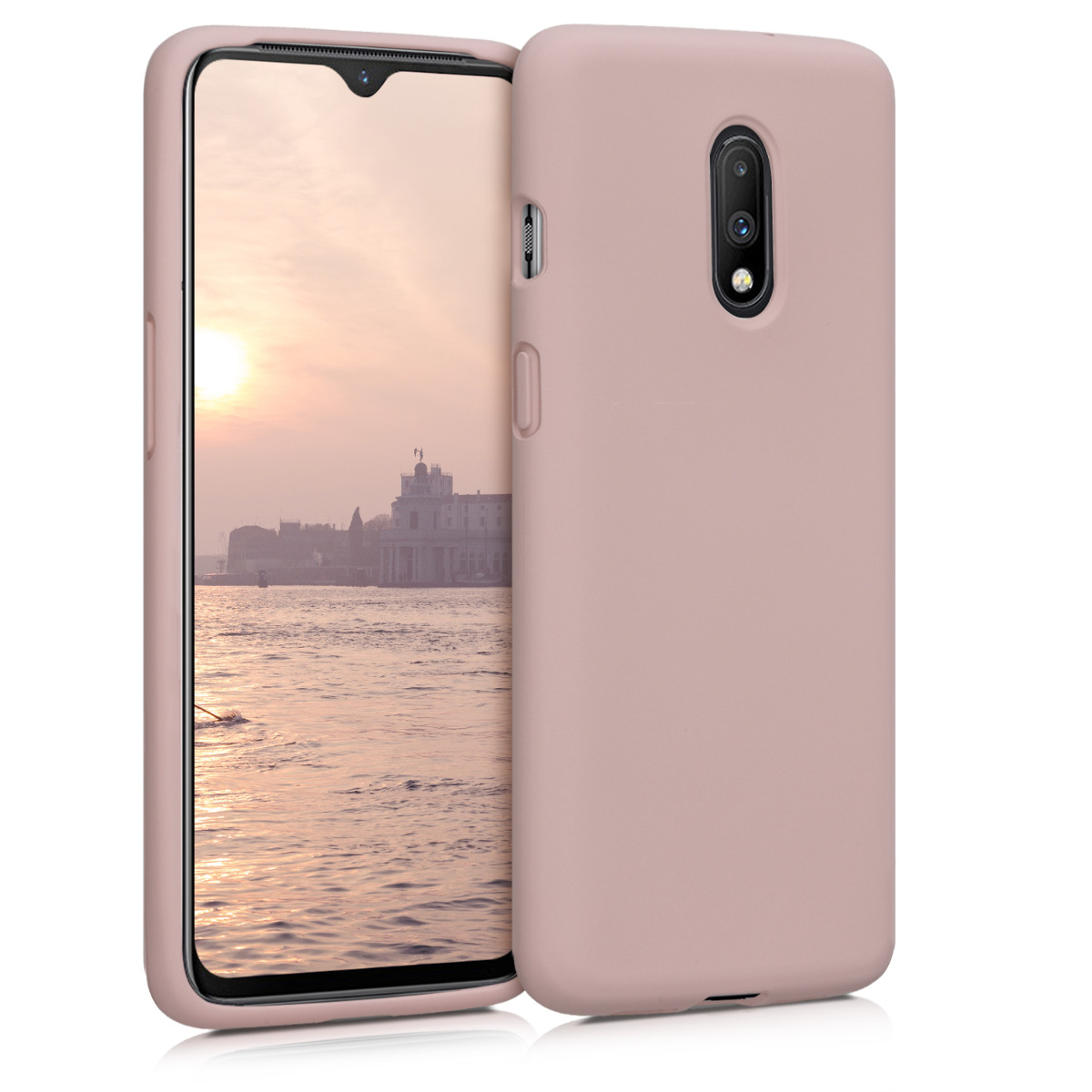 KW Θήκη Σιλικόνης OnePlus 7 - Soft Flexible Rubber Protective Cover - Dusty Pink (47040.10)