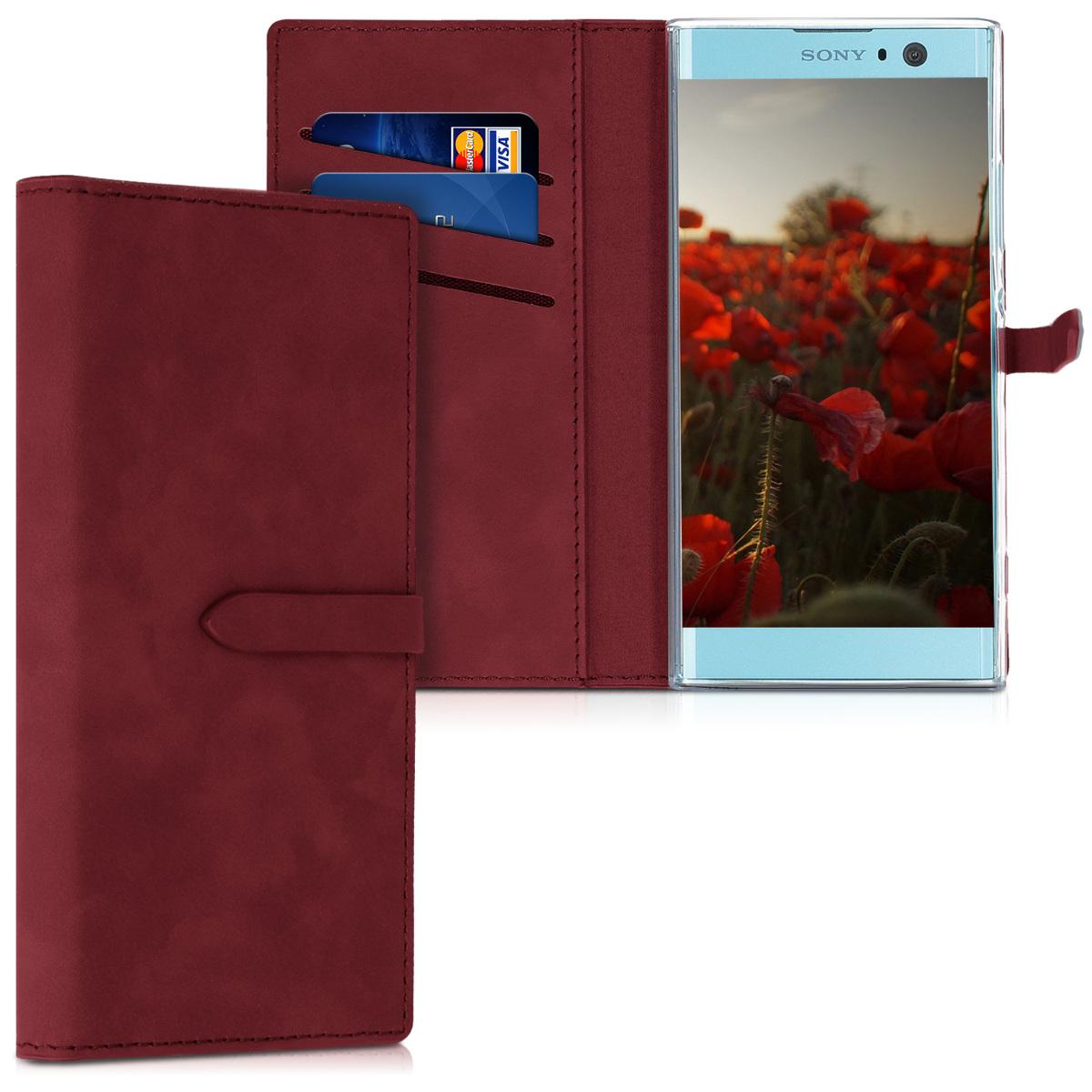 KW Θήκη Πορτοφόλι Sony Xperia XA2 - Nubuck Δέρμα - Dark Red (47054.20)