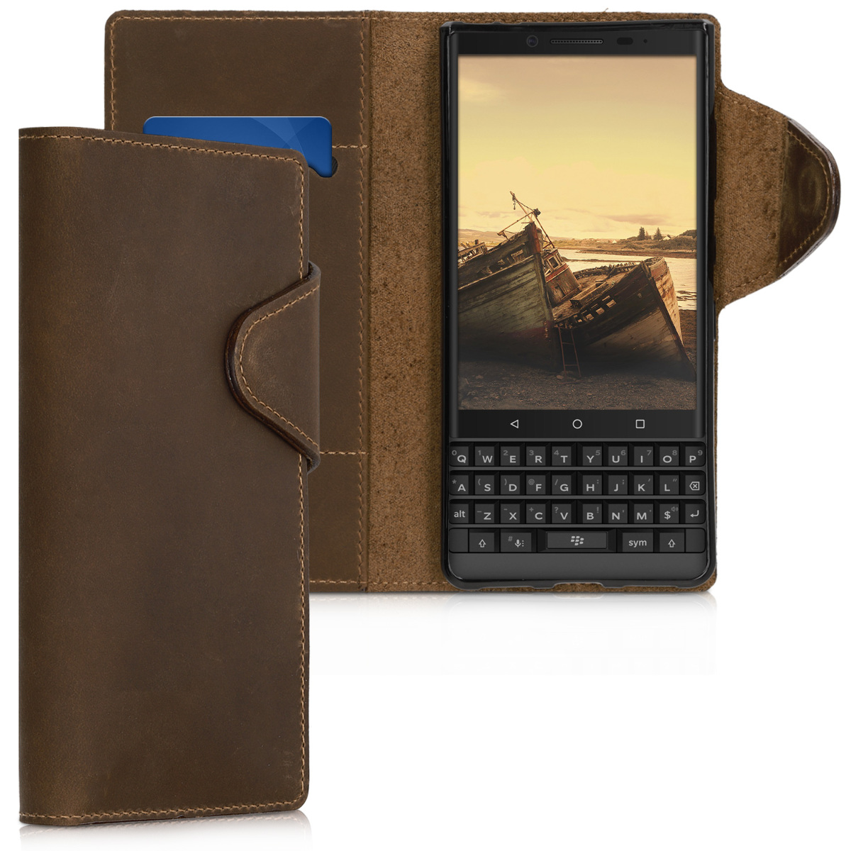 Kalibri Θήκη- Πορτοφόλι Blackberry KEY2 LE (Lite) - Αυθεντικό δέρμα - Brown (47113.05)