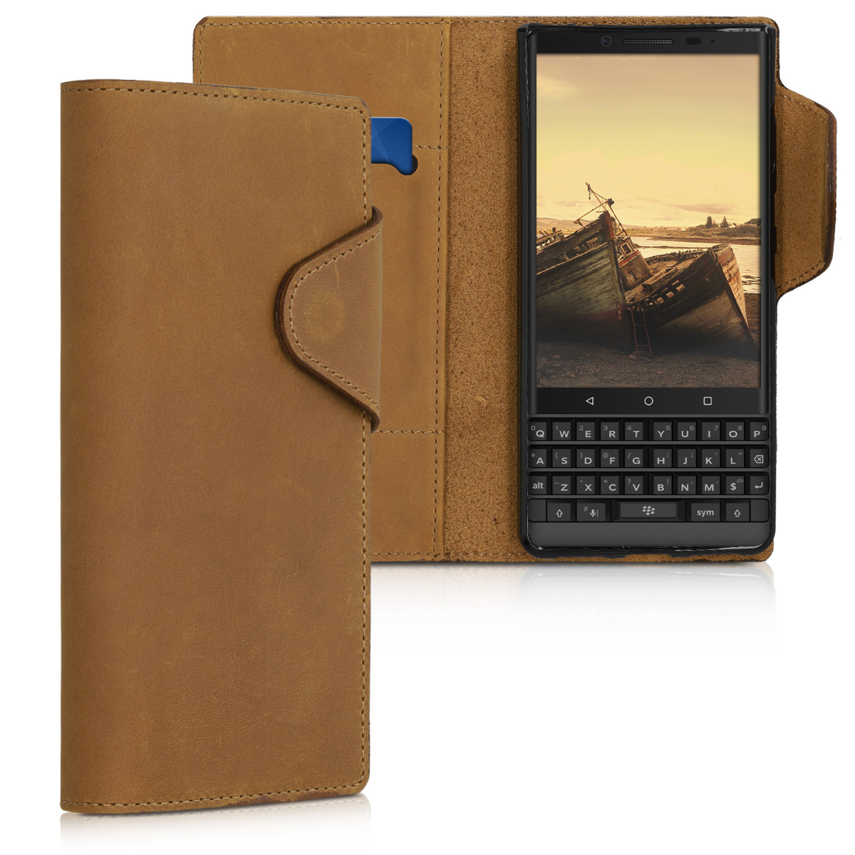 Kalibri Δερμάτινη Suede Θήκη - Πορτοφόλι Blackberry Key2 LE - Light Brown (47113.24)