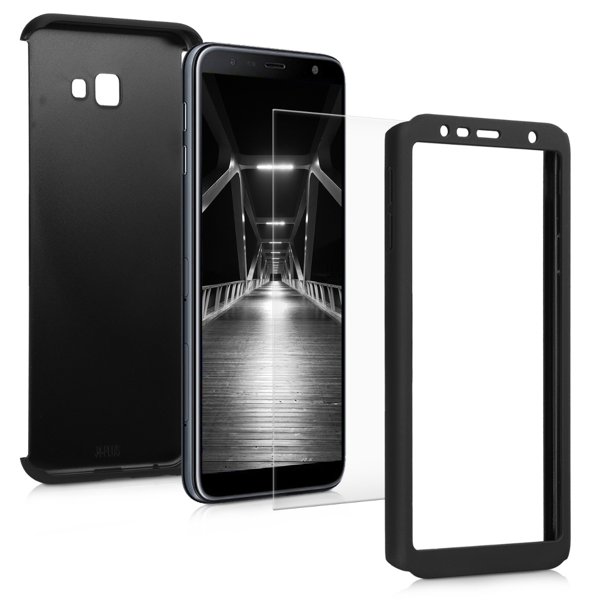 KW Θήκη Full Body with Screen Protector - Samsung Galaxy J4 Plus - Metallic Black (47115.68)