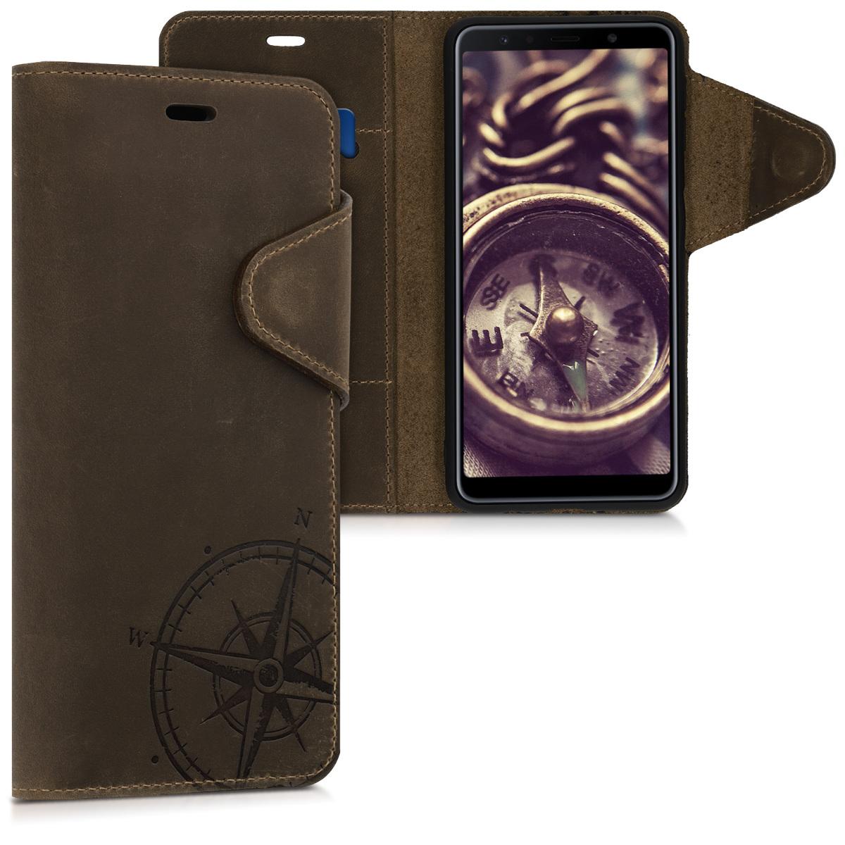 Kalibri Δερμάτινη Suede Θήκη - Πορτοφόλι Samsung Galaxy A7 (2018) - Brown Compass