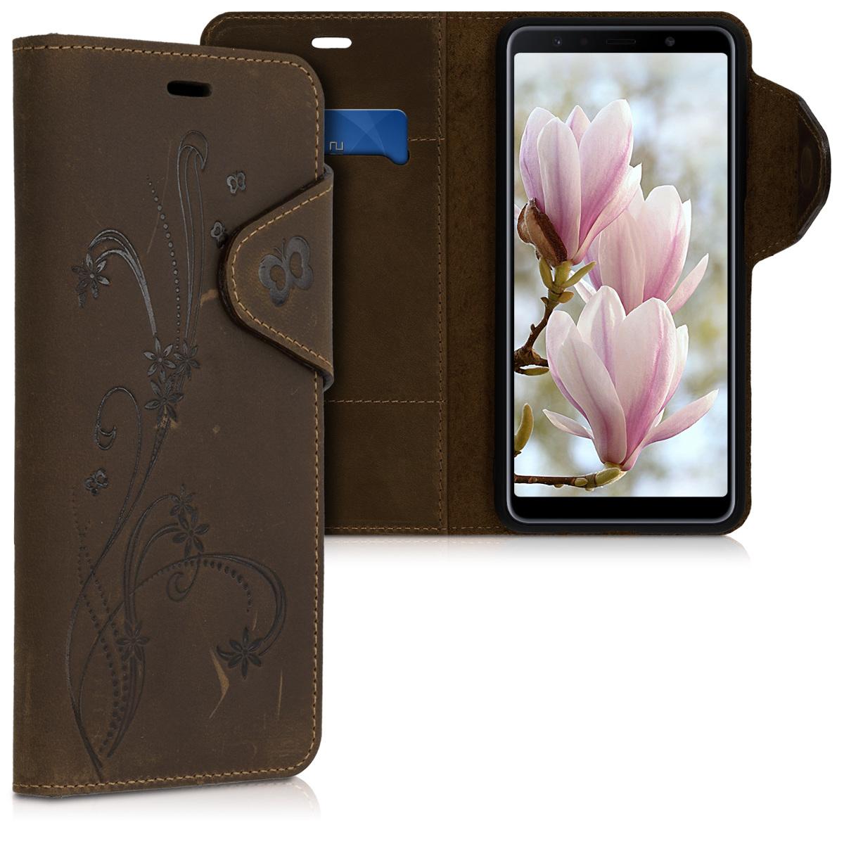 Kalibri Δερμάτινη Suede Θήκη Πορτοφόλι Samsung Galaxy A7 2018 - Brown (47117.03)