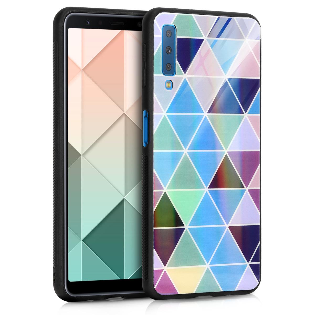 KW Σκληρή Θήκη με Όψη Γυαλιού Samsung Galaxy A7 2018 - Blue / Dark Blue / Mint (47125.01)