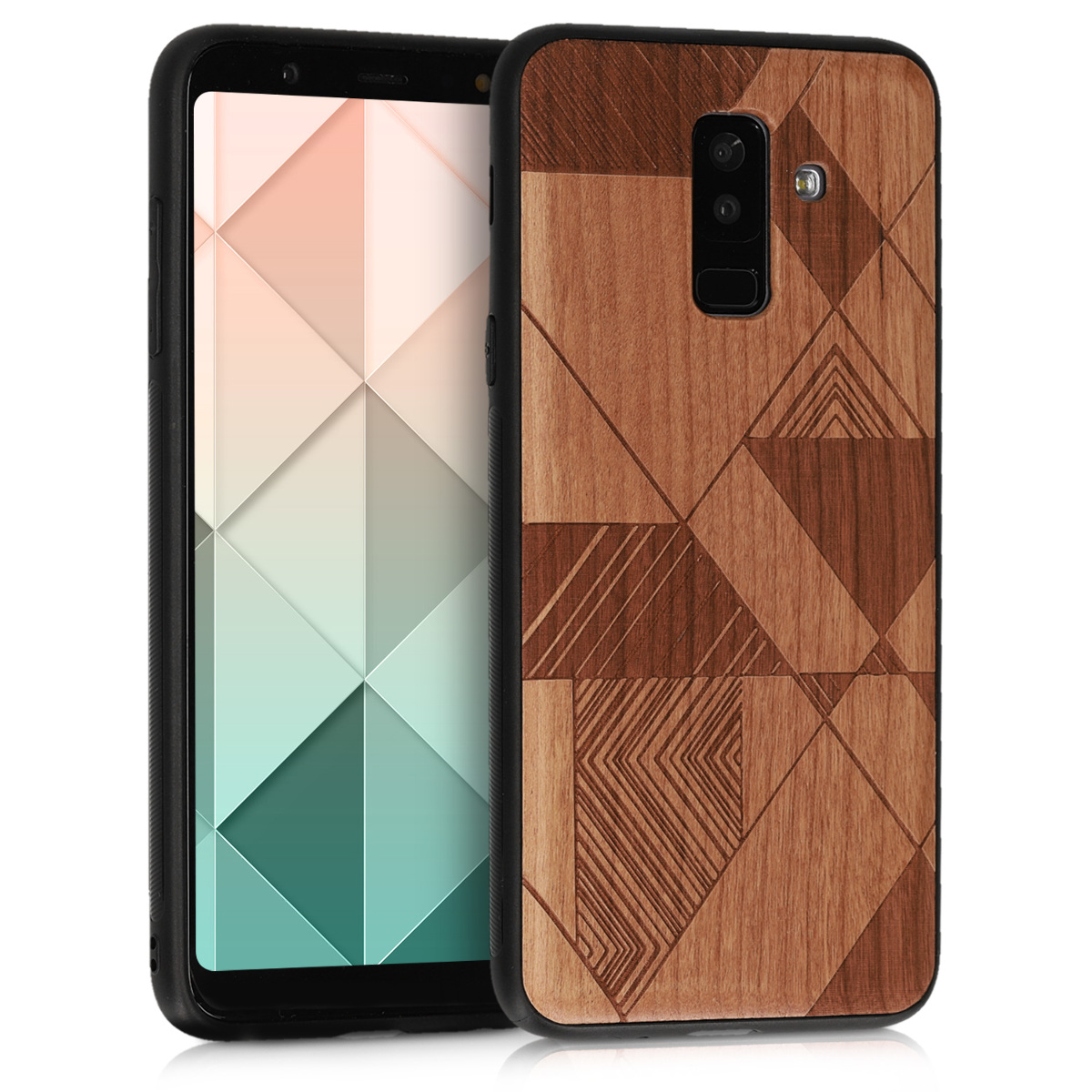 KW Σκληρή Ξύλινη Θήκη - Samsung Galaxy A6+/A6 Plus (2018) - Triangle Lines cherrywood - (47130.01)