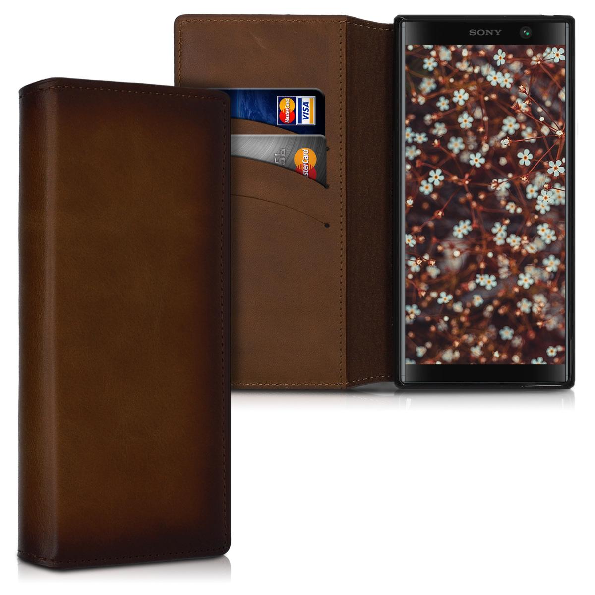 Kalibri Δερμάτινη Θήκη - Πορτοφόλι Sony Xperia XA2 Plus - Vintage Brown