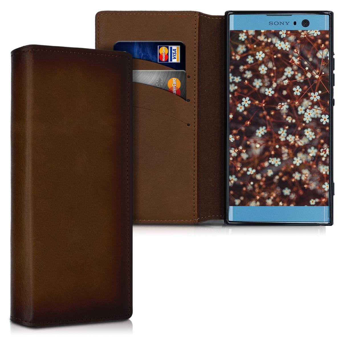 Kalibri Δερμάτινη Suede Θήκη - Πορτοφόλι Sony Xperia XA2 - Vintage Brown (47142.133)