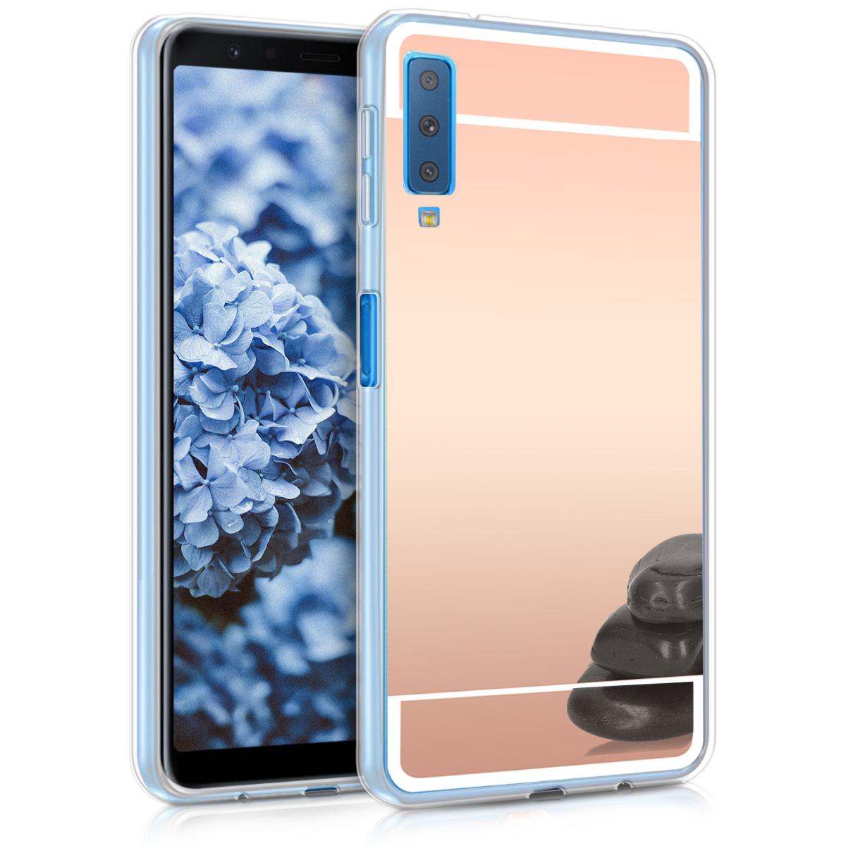 KW Θήκη Σιλικόνης με Καθρέφτη Samsung Galaxy A7 2018 - Rose Gold (47212.41)