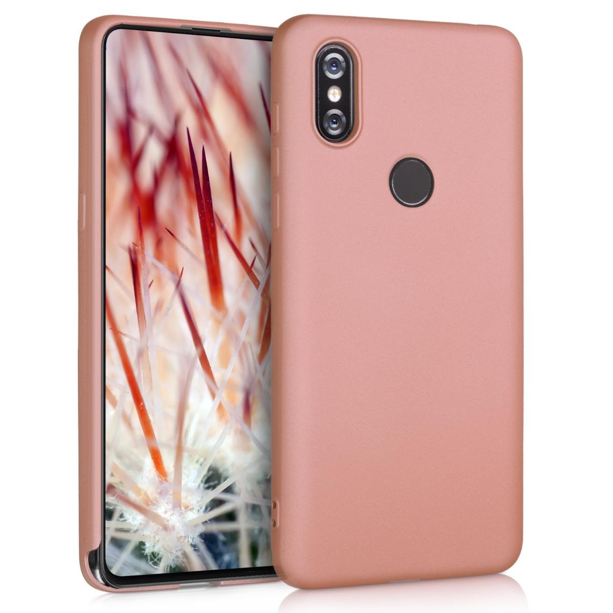KW Θήκη Σιλικόνης Xiaomi Mi Mix 3 - Μεταλλικό ροζ/χάλκινο (47223.31)