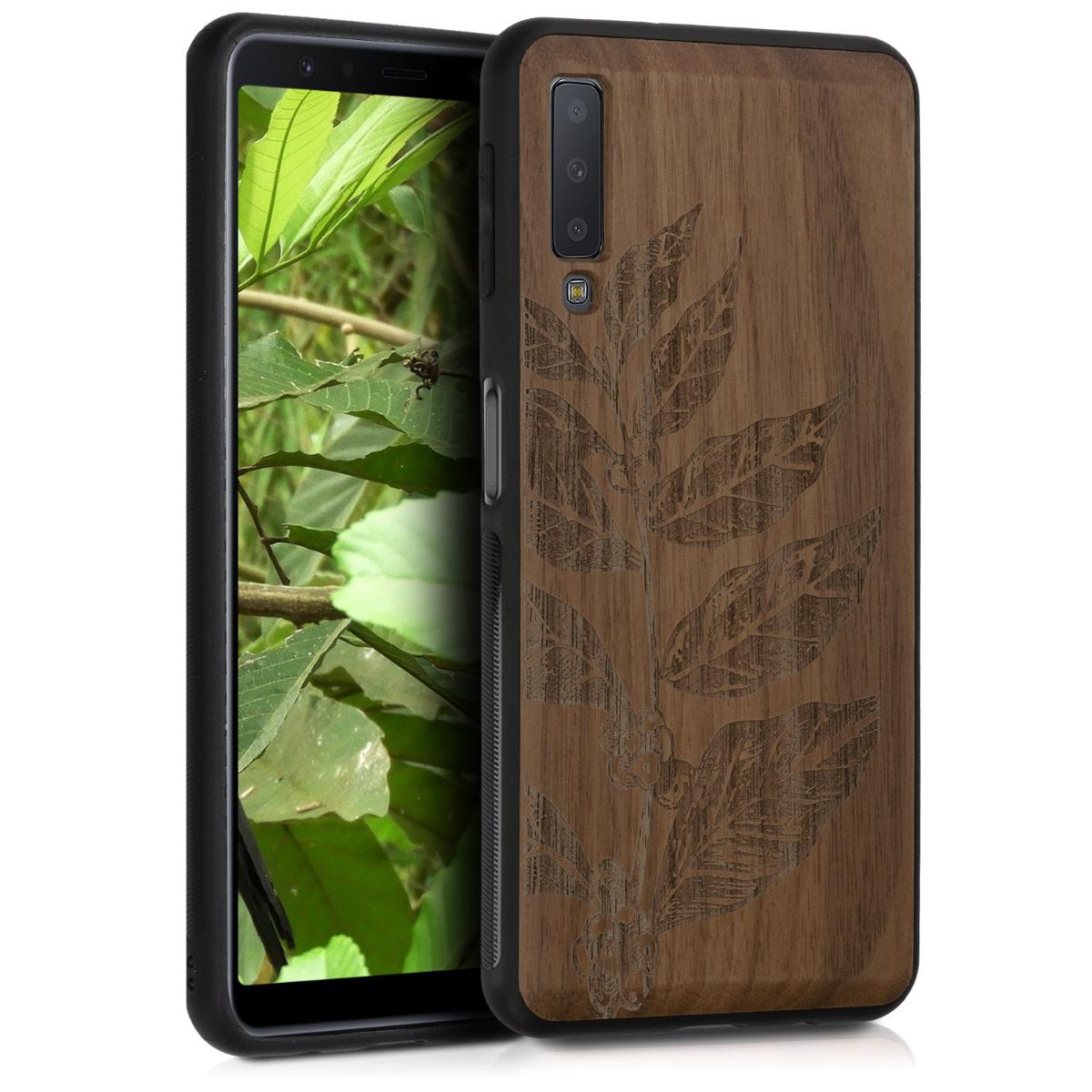 KW Ξύλινη Θήκη Samsung Galaxy A7 2018 - Καφέ/ Σχέδιο φύλλα (47239.01)