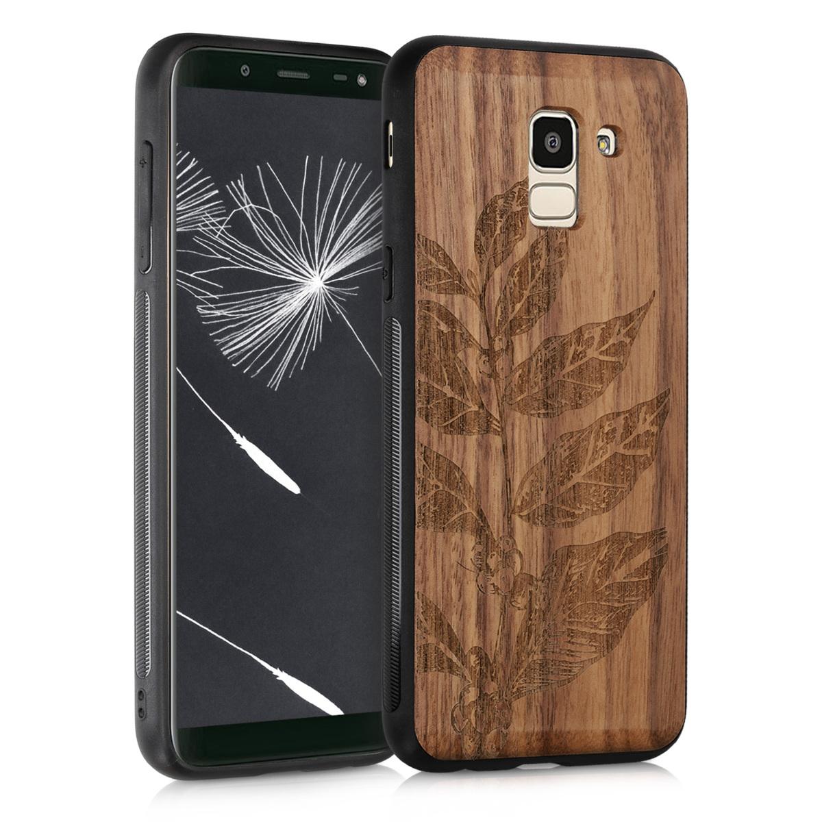 KW Ξύλινη Θήκη Samsung Galaxy J6 2018 - Leaves and Berries (47240.01)
