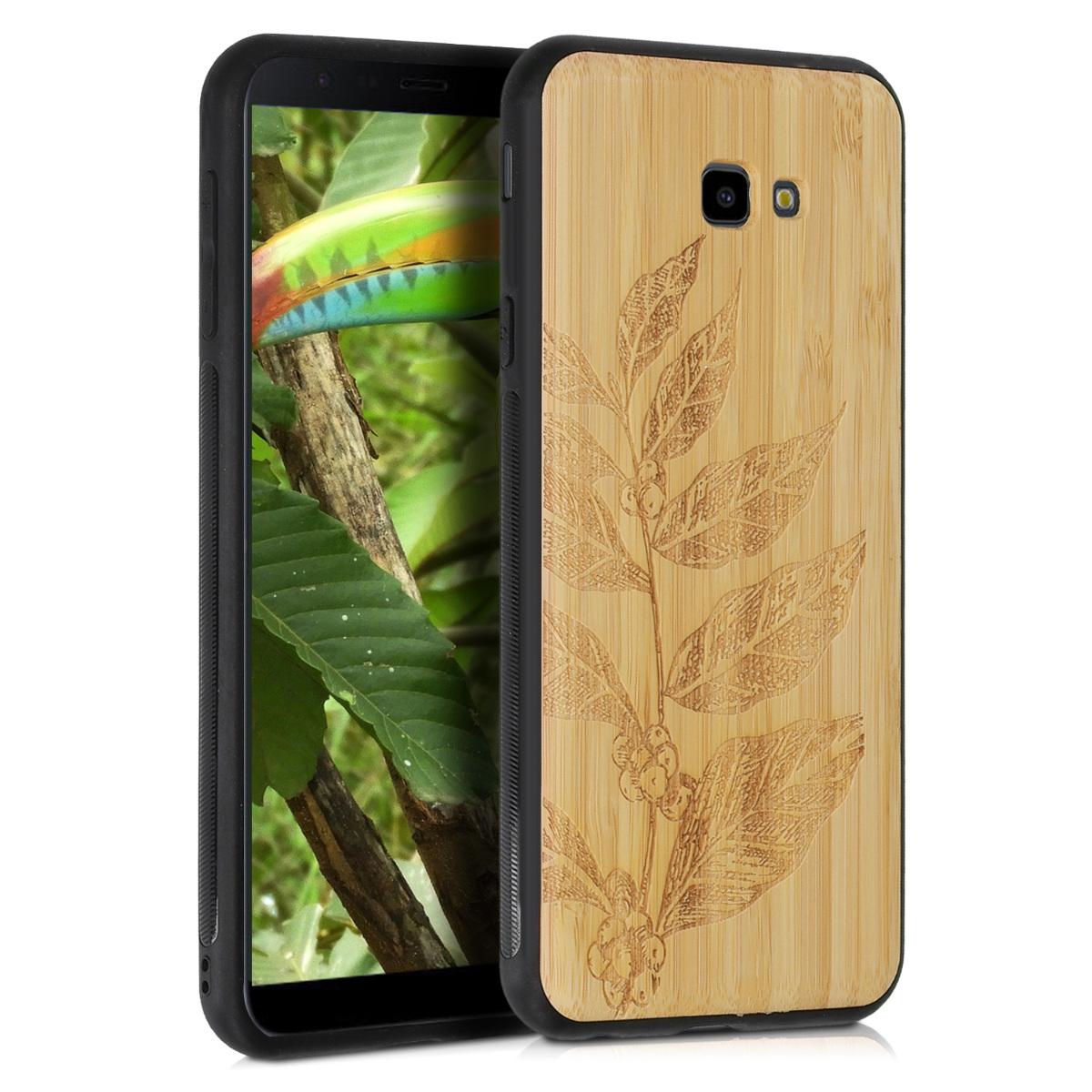 KW Σκληρή Ξύλινη Θήκη Samsung Galaxy J4+ / J4 Plus DUOS - Leaves and Berries bamboo - (47242.01)