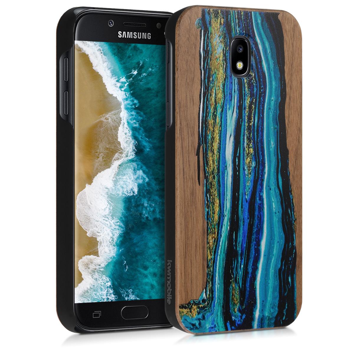 KW Ξύλινη Θήκη Samsung Galaxy J5 2017 - Καφέ/ σχέδιο θάλασσα (47351.01)