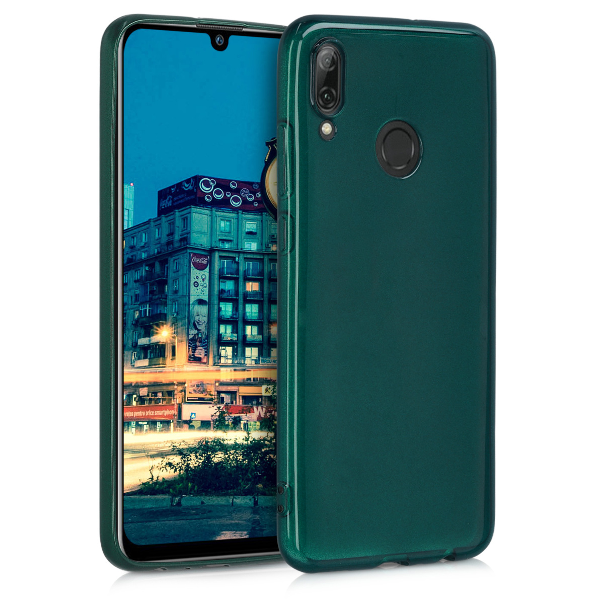 KW Θήκη Σιλικόνη Huawei P Smart (2019) - Soft Flexible Shock Absorbent - Teal High Gloss (47386.131)
