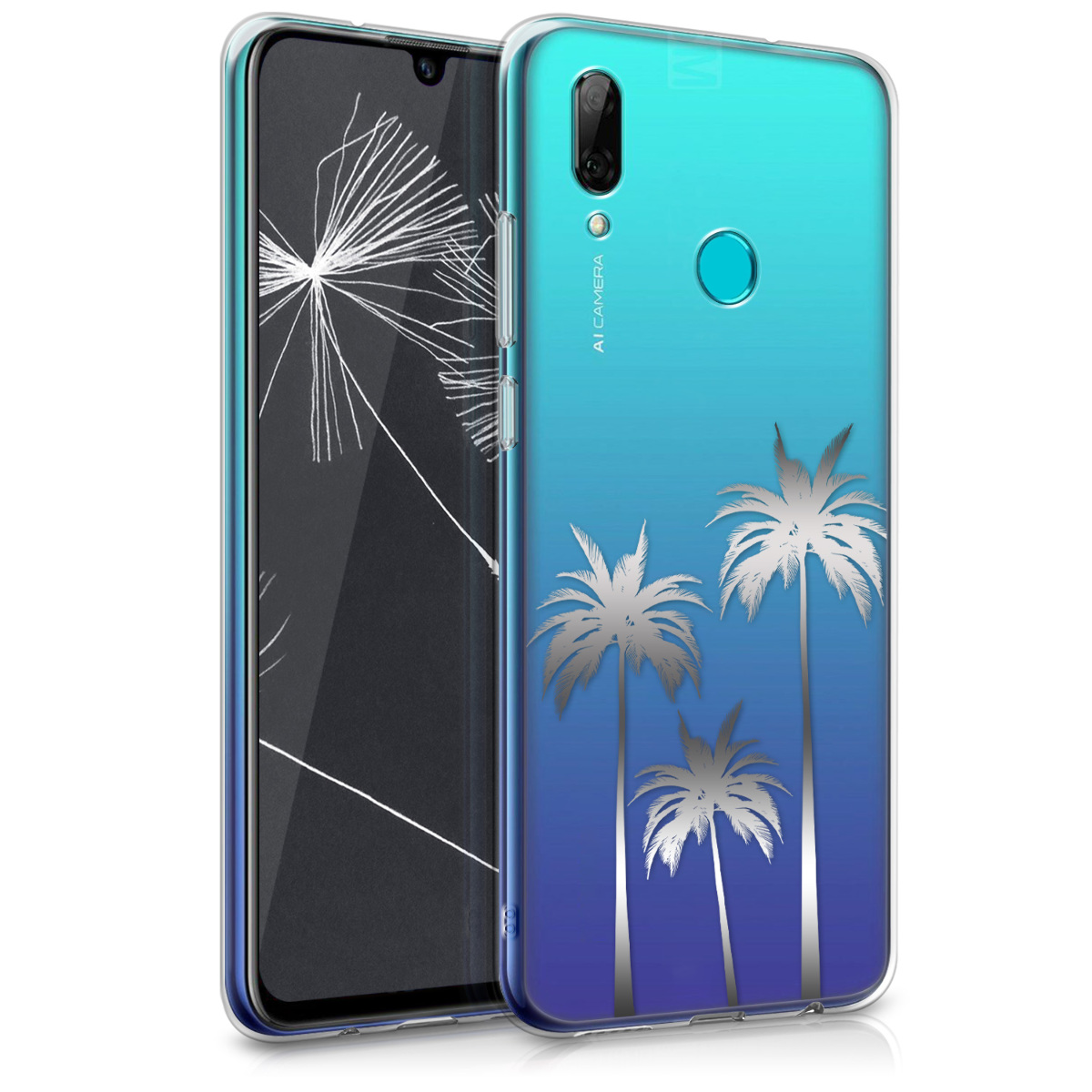 KW Θήκη Σιλικόνης Huawei P Smart 2019 - Silver / Transparent (47388.22)