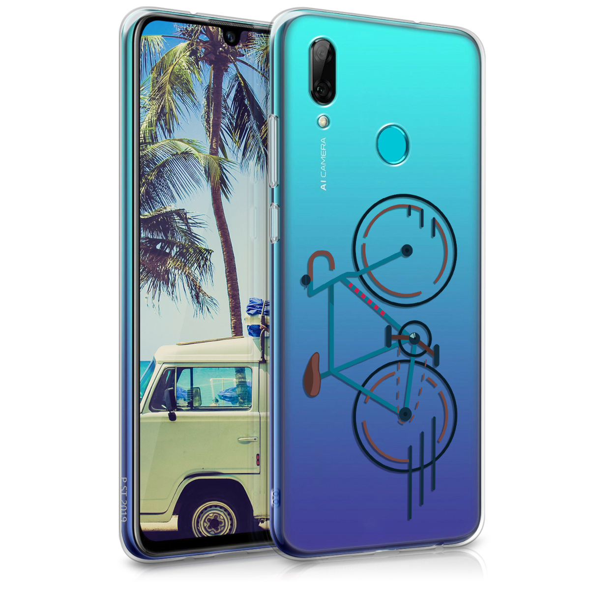 KW Θήκη Σιλικόνης Huawei P Smart 2019 - Blue / Brown / Transparent (47388.25)