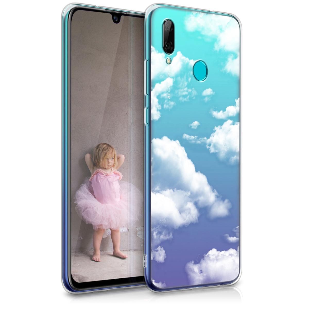 KW Θήκη Σιλικόνης Huawei P Smart 2019 - Bunch of Clouds - White / Transparent (47388.34)