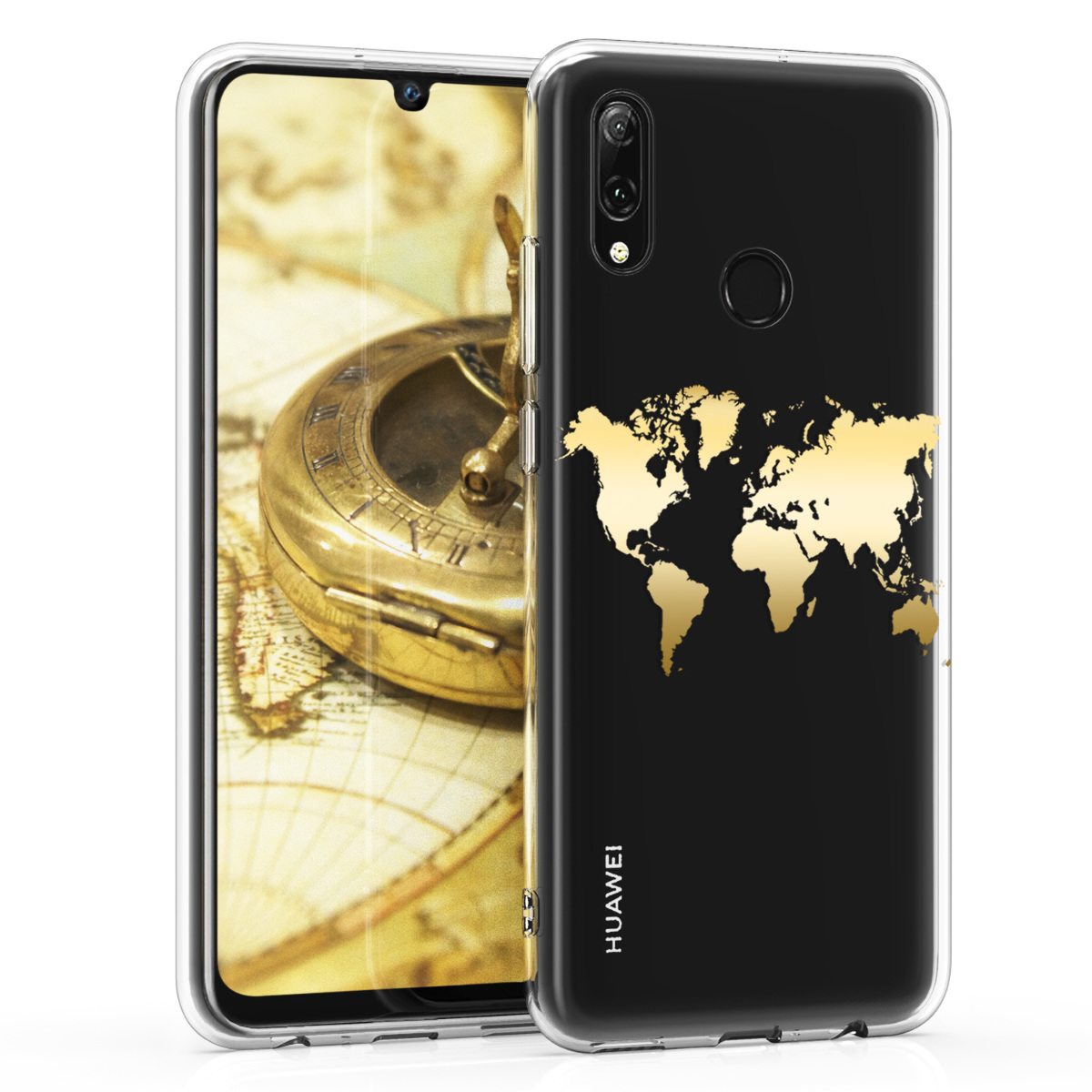 KW Θήκη Σιλικόνης Huawei P Smart (2019) - Gold / Transparent (47389.01)