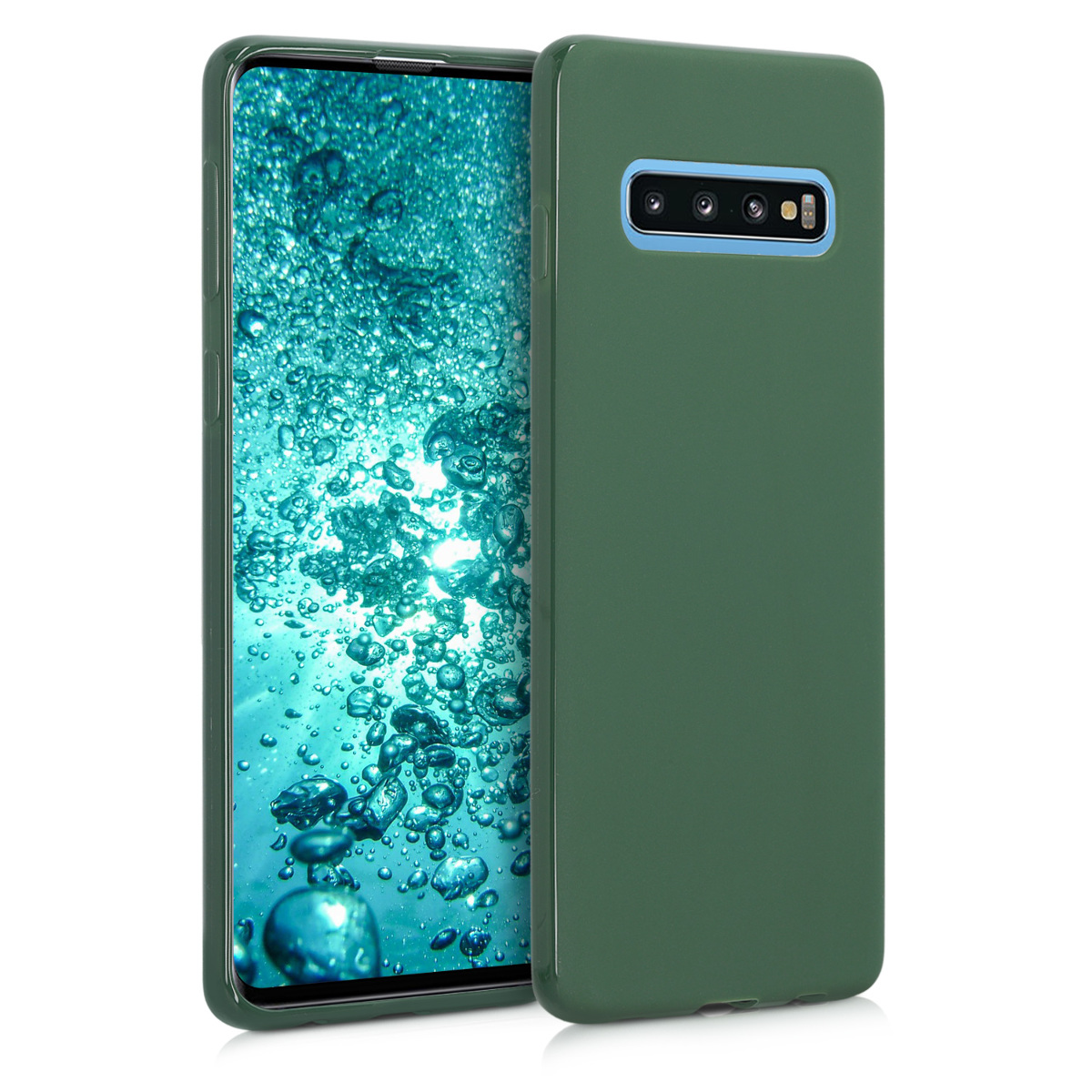 KW Θήκη Σιλικόνης Samsung Galaxy S10 - Soft Flexible Shock Absorbent - Dark Green Matte (47447.118)