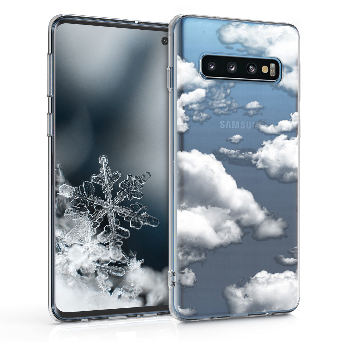 KW Θήκη Σιλικόνης Samsung Galaxy S10 - Bunch of Clouds - White / Transparent (47448.10)
