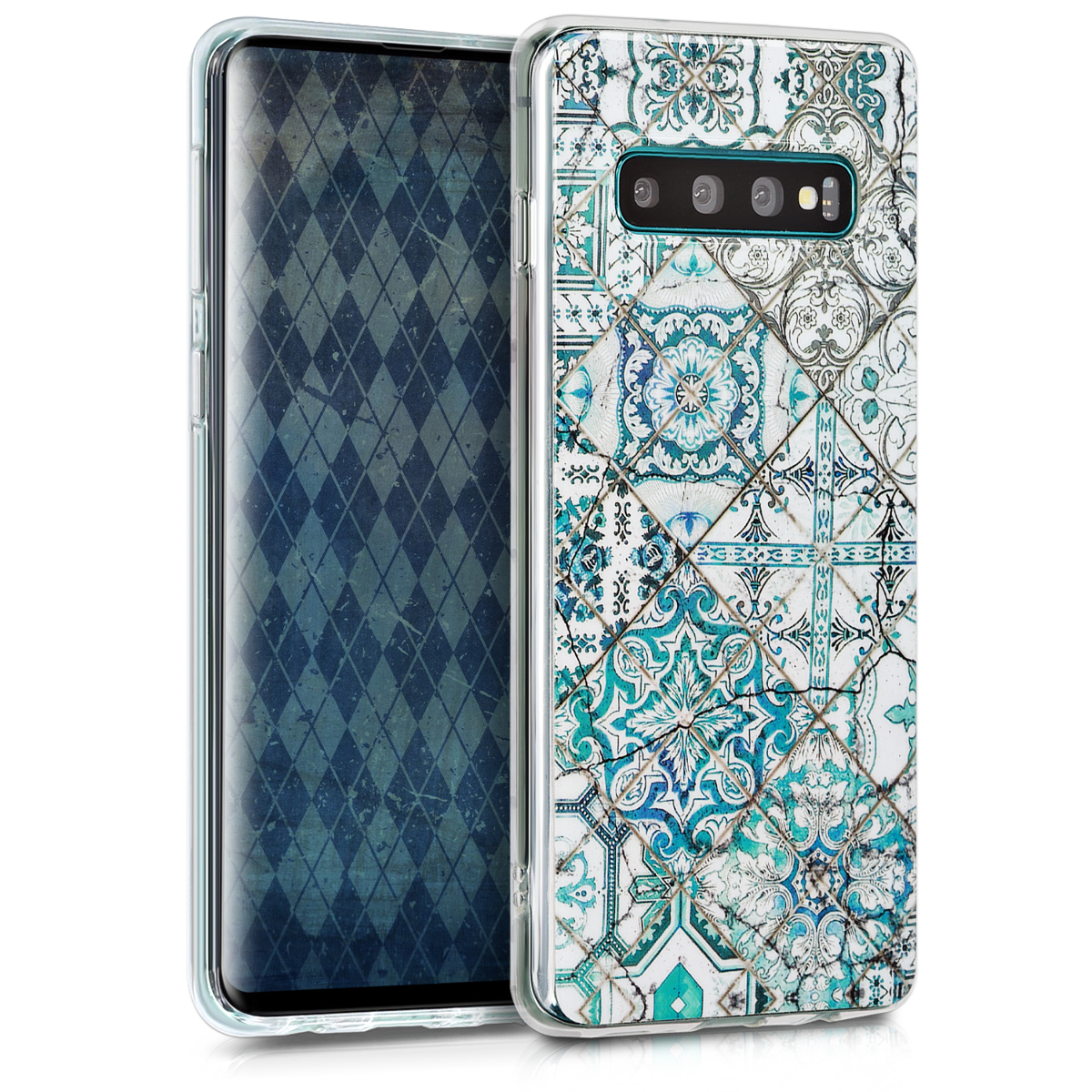 KW Θήκη Σιλικόνης Samsung Galaxy S10 - IMD Design - Blue / Grey / White (47449.08)
