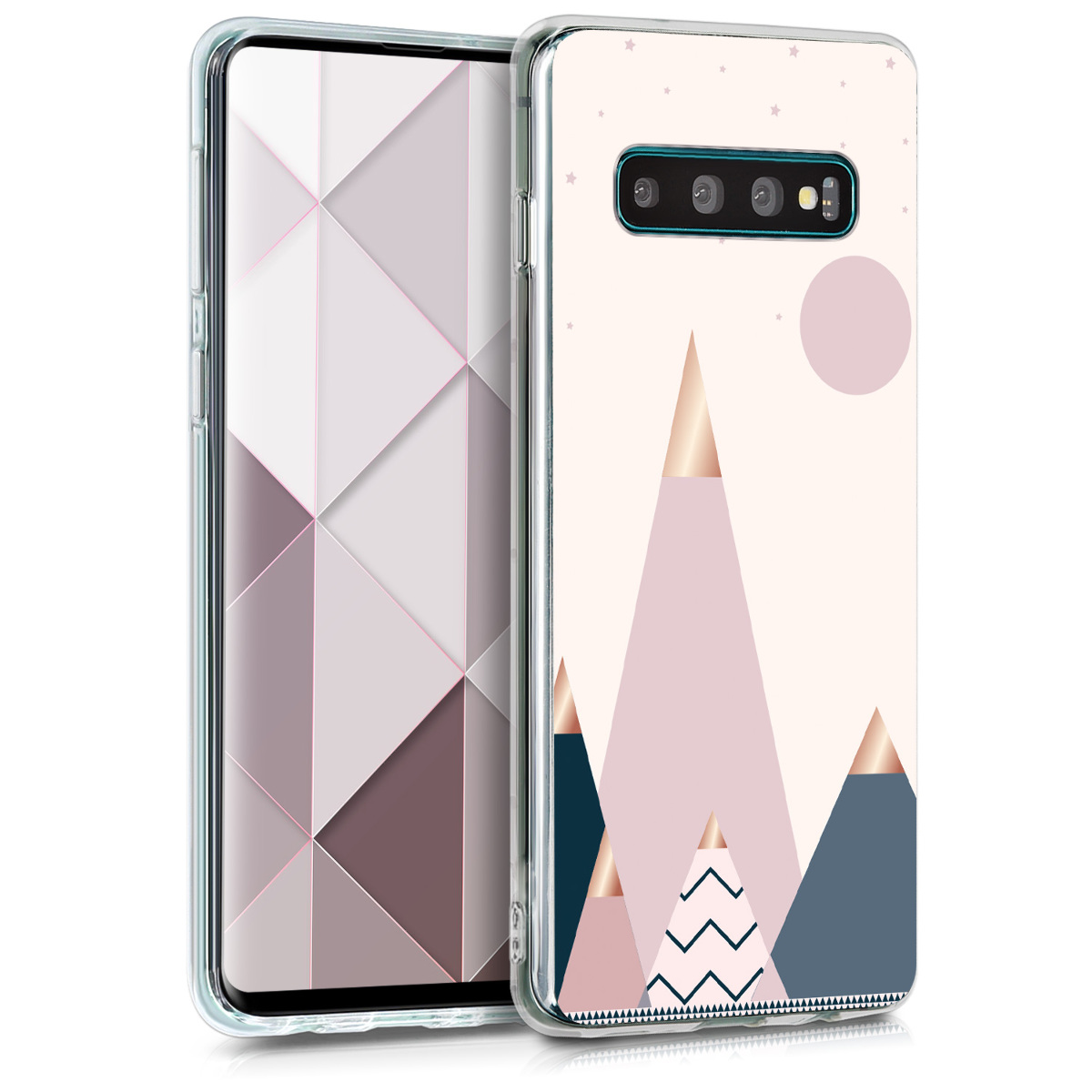 KW Θήκη Σιλικόνης Samsung Galaxy S10 - Rose Gold / Blue / Light Pink (47449.23)