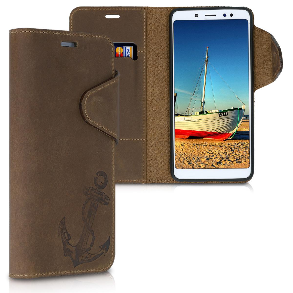 Kalibri Δερμάτινη Suede Θήκη - Πορτοφόλι Xiaomi Redmi Note 5 (Global Version) / Note 5 Pro - Brown (47462.01)