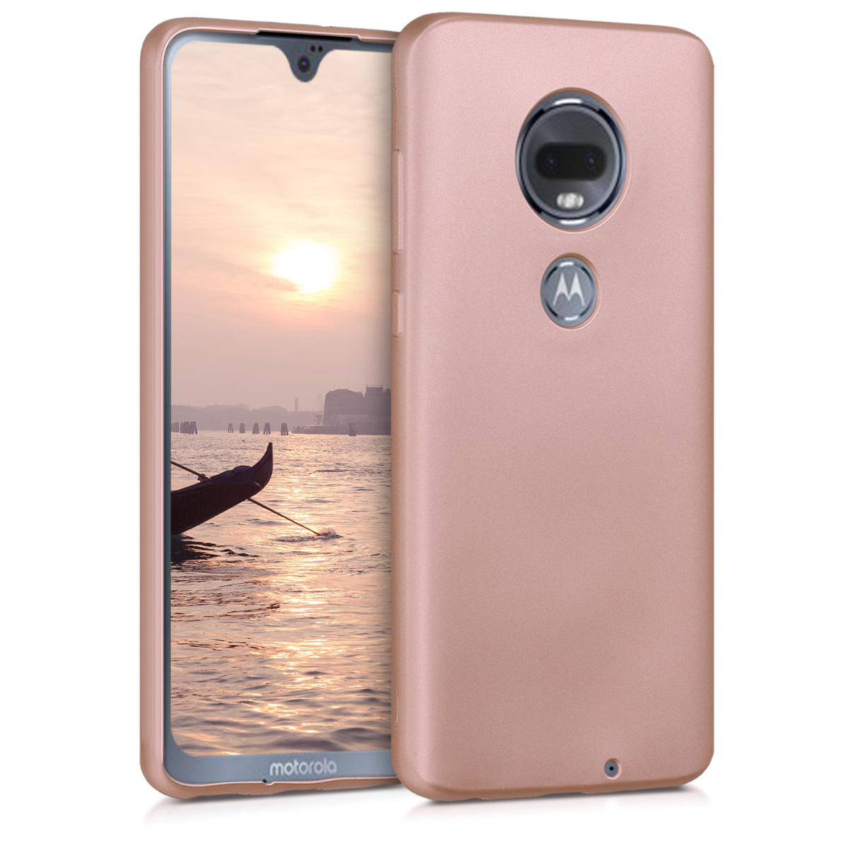 KW Θήκη Σιλικόνης Motorola Moto G7 - Metallic Rose Gold (47485.31)