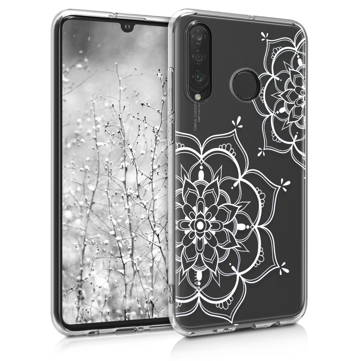 KW Θήκη Σιλικόνης Huawei P30 Lite - Silver / Transparent (47501.14)