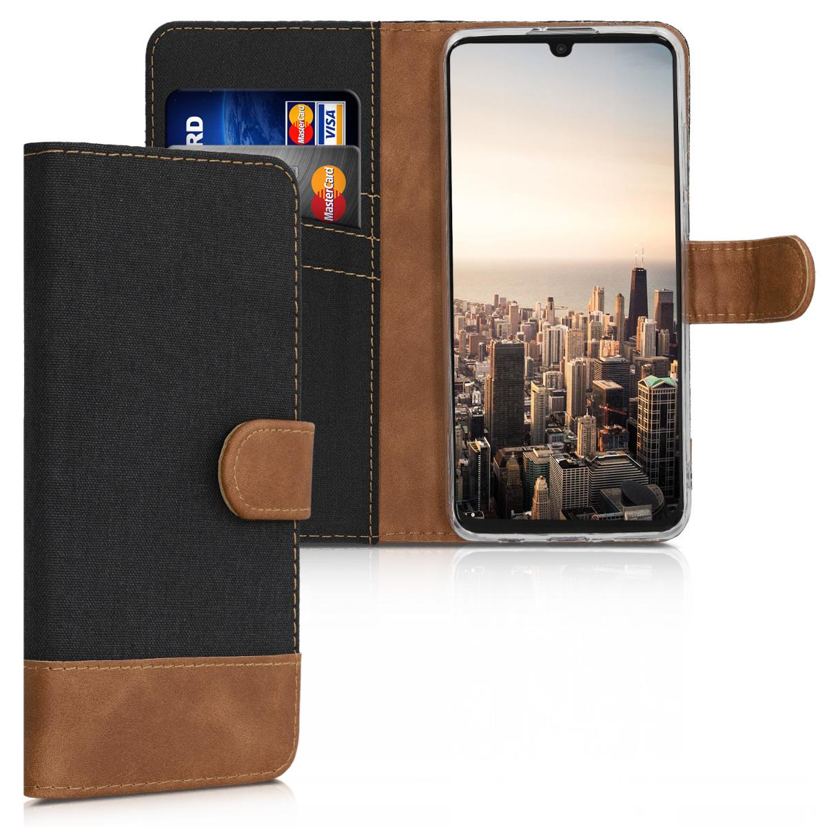 KW Θήκη - Πορτοφόλι Huawei P30 Lite - Black / Brown (47502.03)