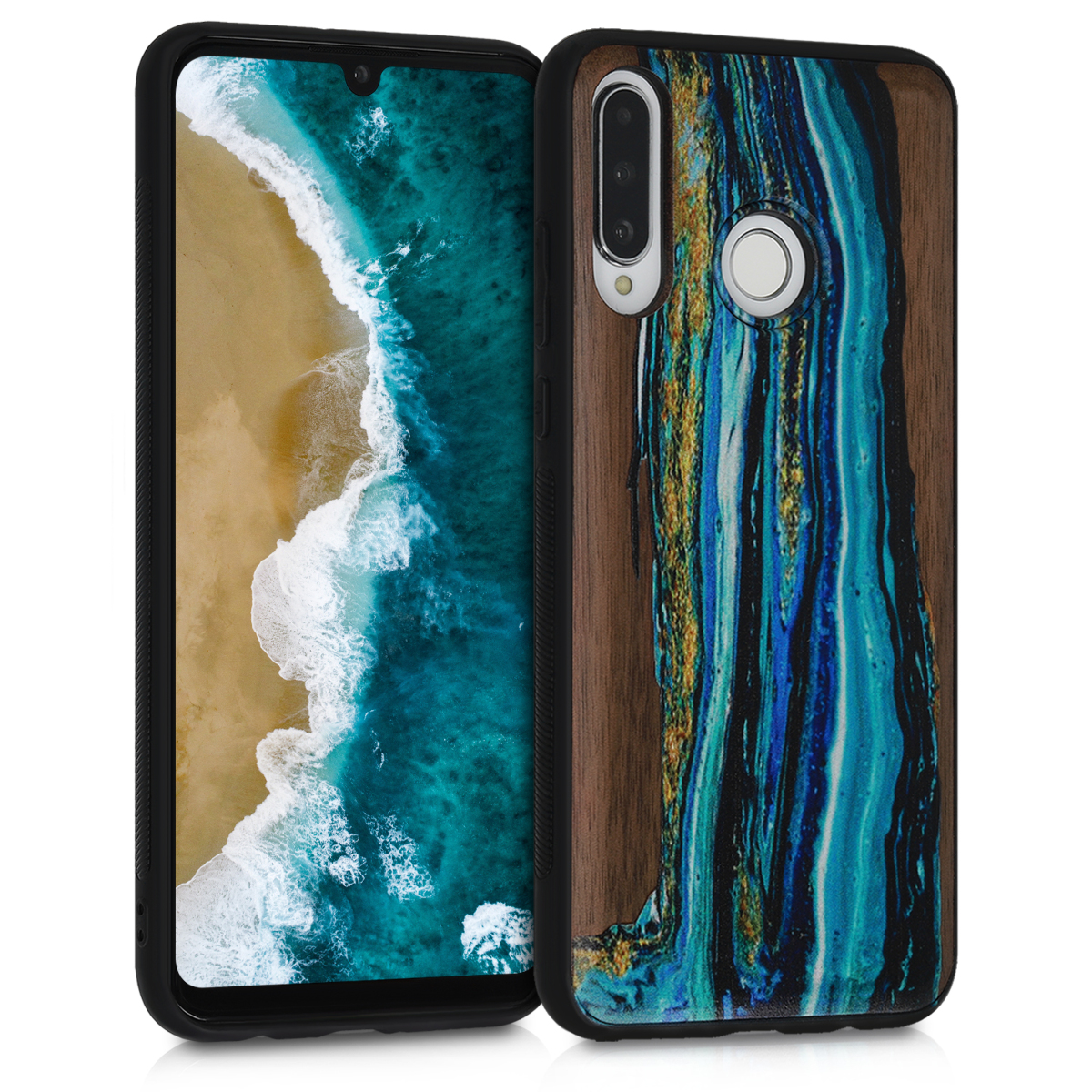 KW Ξύλινη Θήκη Huawei P30 Lite - Watercolor Waves (47506.03)