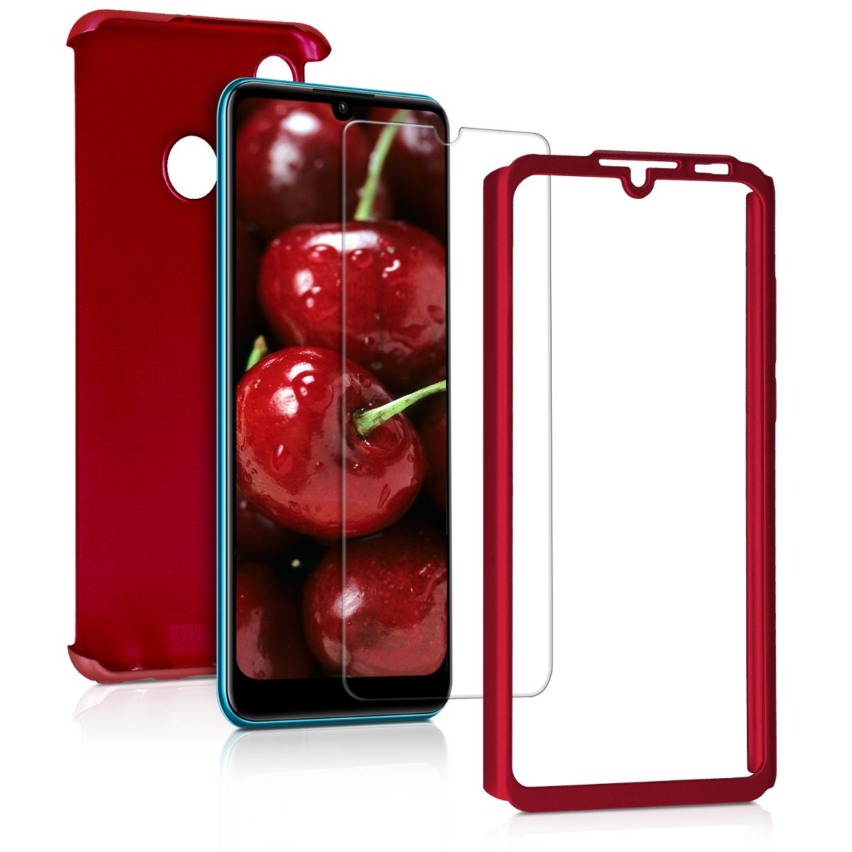 KW Θήκη Full Body Huawei P30 Lite & Tempered Glass - Metallic Dark Red (47508.36)