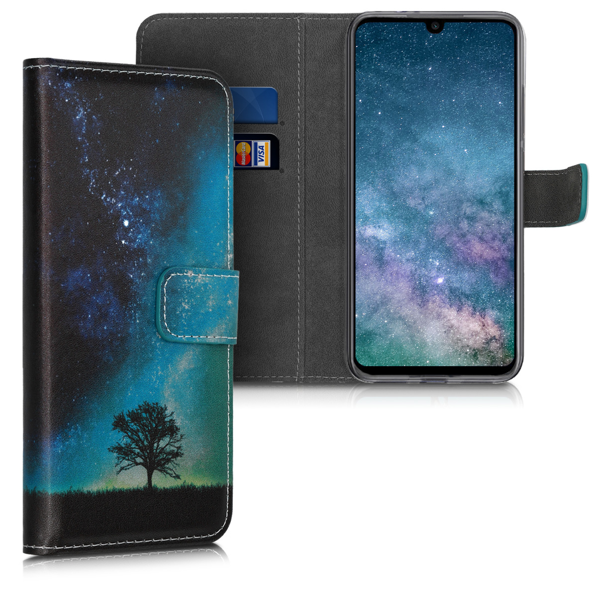 KW Θήκη - Πορτοφόλι Xiaomi Redmi Note 7 / Note 7 Pro - PU Leather Protective Flip Cover - Blue / Grey / Black (47572.03)
