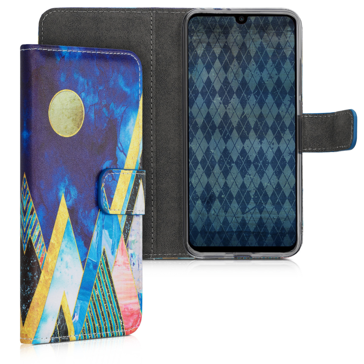 KW Θήκη - Πορτοφόλι Xiaomi Redmi Note 7 / Note 7 Pro - PU Leather Protective Flip Cover - Gold / Coral / Dark Blue (47572.04)