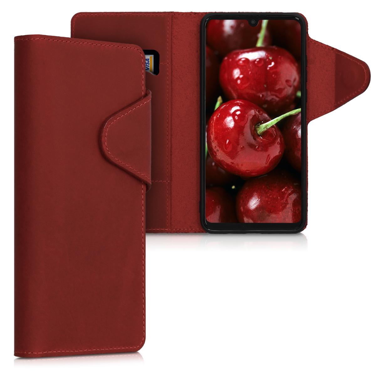 Kalibri Δερμάτινη Suede Θήκη - Πορτοφόλι Huawei P30 Lite - Dark Red (47656.20)