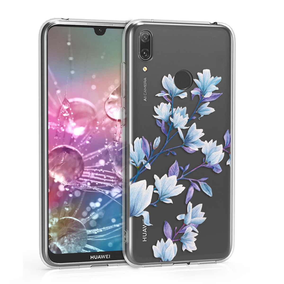 KW Θήκη Σιλικόνης Huawei Y7 2019 / Y7 Prime 2019 - Blue / Violet / Transparent (47659.14)