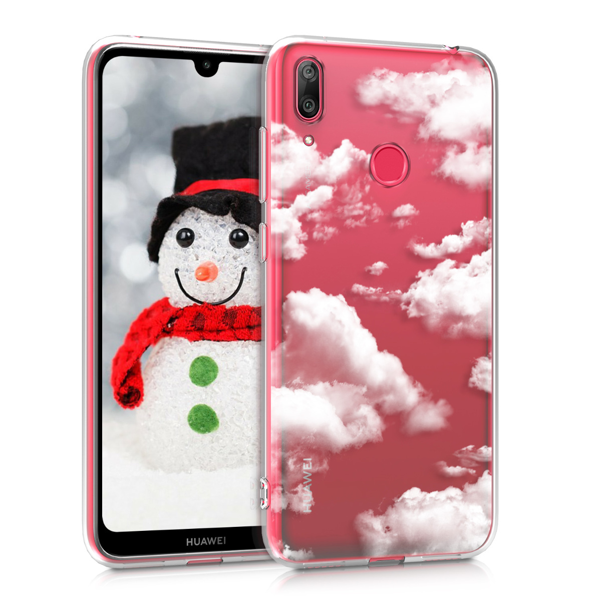 KW Θήκη Σιλικόνης Huawei Y7 2019 / Y7 Prime 2019 - Bunch of Clouds - White / Transparent (47659.22)