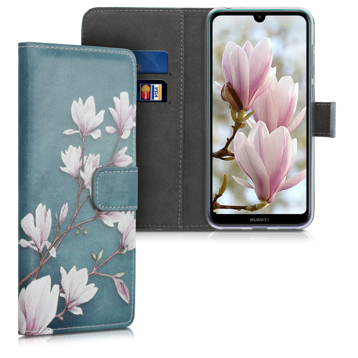 KW Θήκη Σιλικόνης Huawei Y7 2019 / Y7 Prime 2019 - PU Leather Protective Flip Cover - Taupe / White / Blue Grey (47664.03)