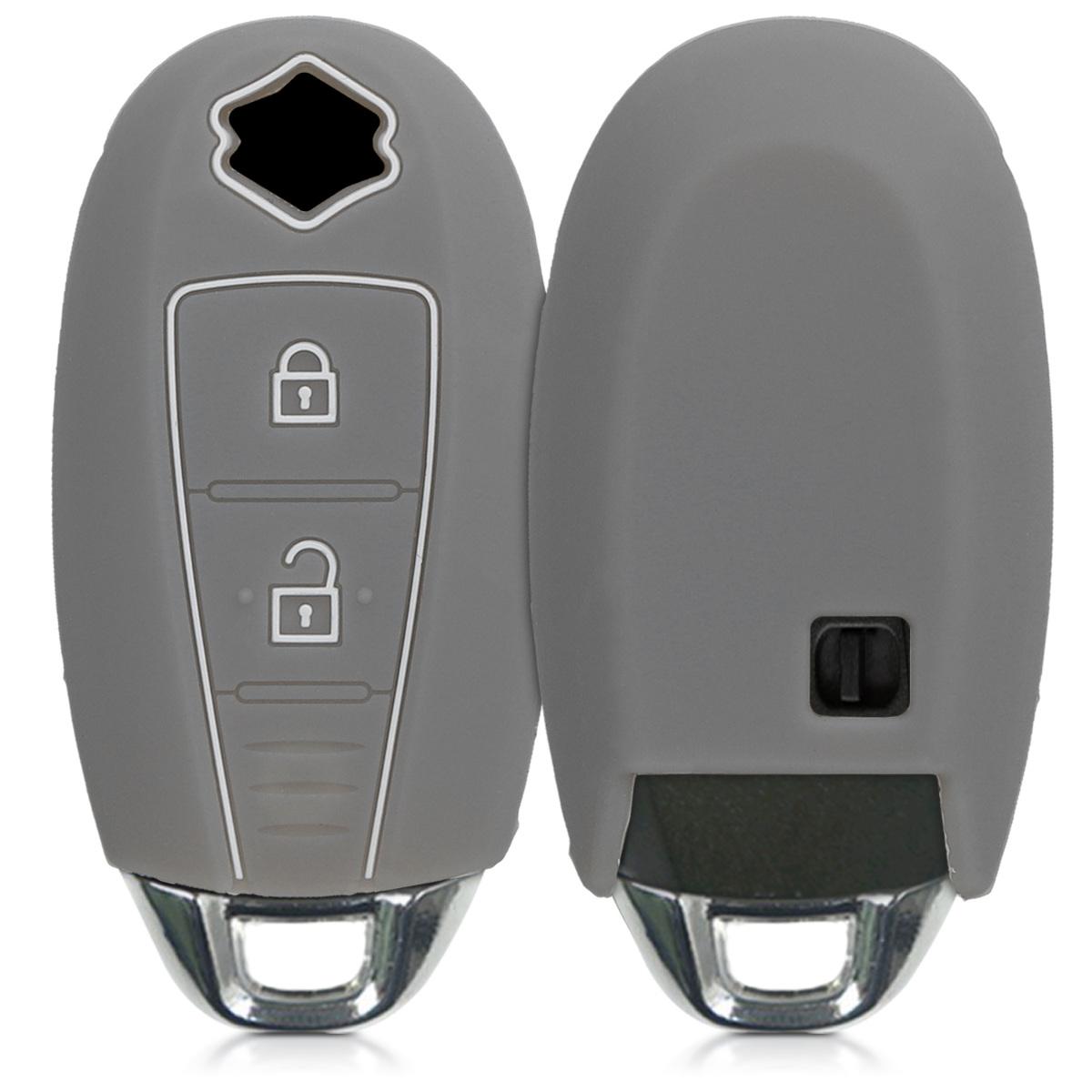 KW Θήκη Κλειδιού Suzuki - Σιλικόνη - 2 κουμπιά - grey / black (47668.02)