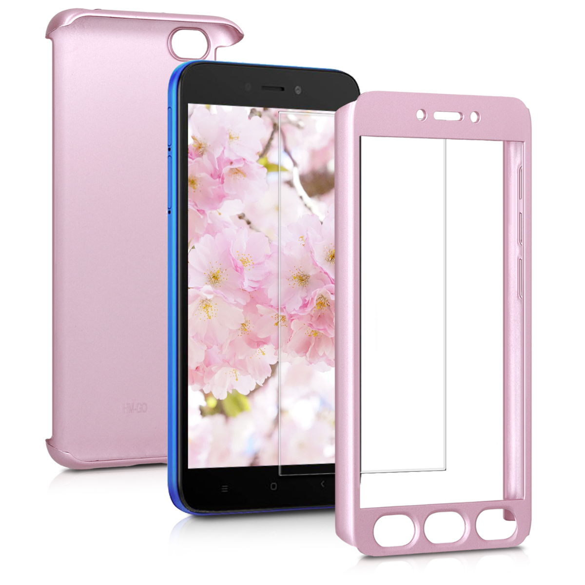 KW Full Body Θήκη Xiaomi Redmi Go & Tempered Glass - Metallic Rose Gold (47713.31)