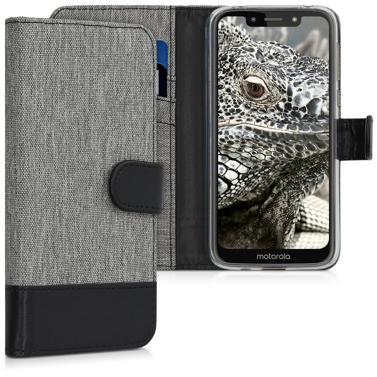 KW Θήκη Πορτοφόλι Motorola Moto G7 Play - Grey / Black (47755.01)