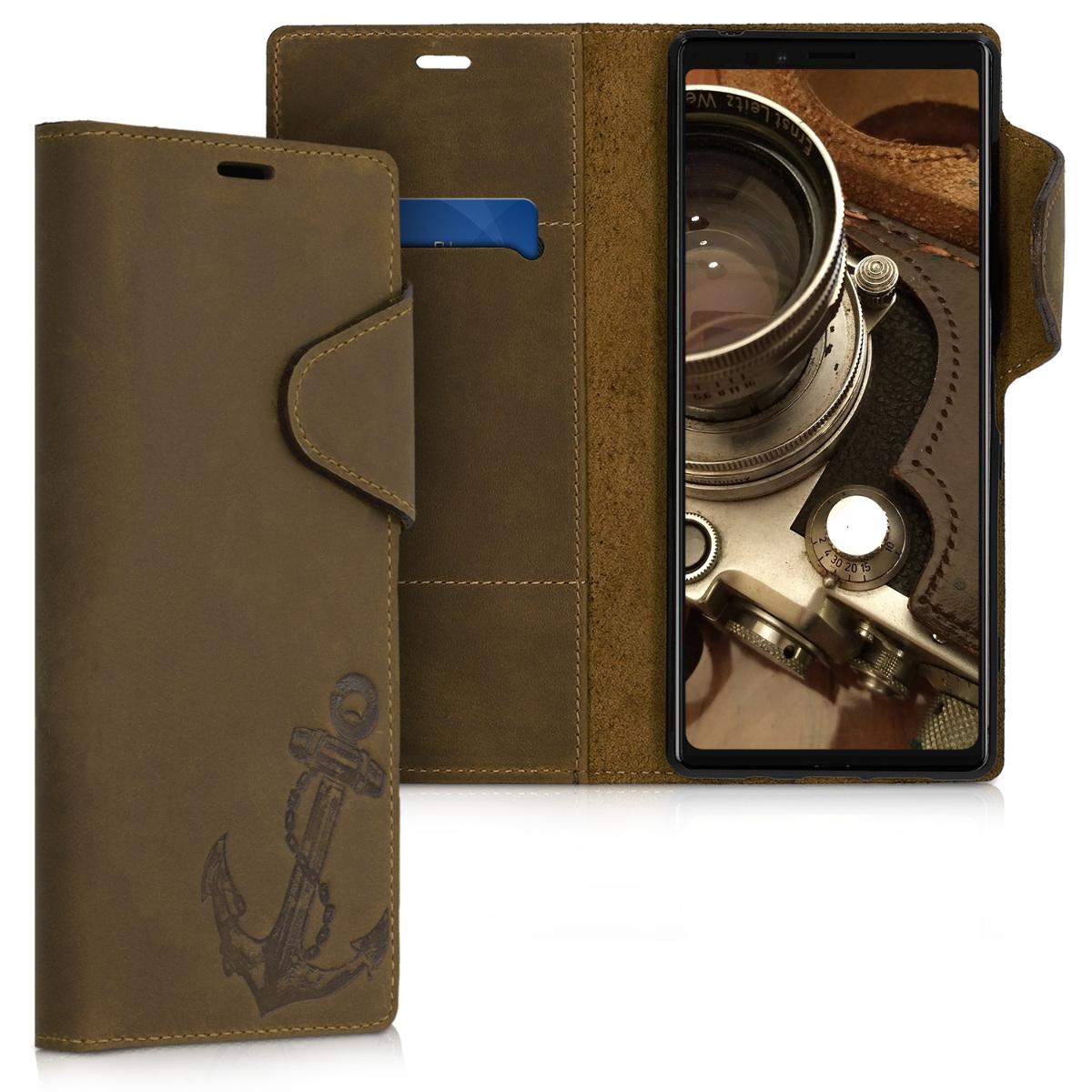 Kalibri Δερμάτινη Suede Θήκη - Πορτοφόλι Sony Xperia 1 - Brown (47991.02)